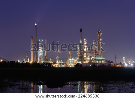 petrochemical plant in night time