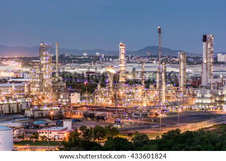 petrochemical plant in night time, Oil refinery plant at twilight with sky background,