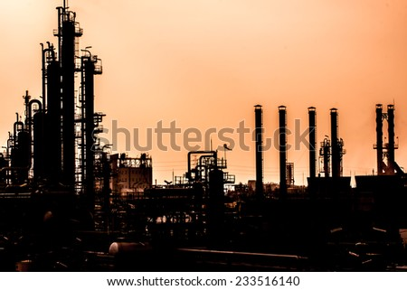 petrochemical plant in northeast Asia.background - stock photo