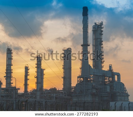 Petrochemical plant in sunshine