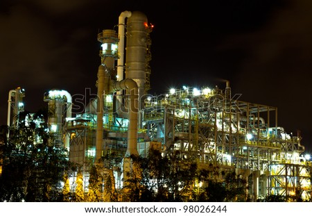 Petrochemical plant in the night , Thailand - stock photo