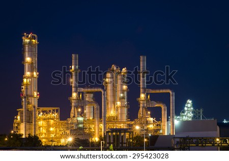 petrochemical plant in the night times , Oil Refinery factory , Petroleum