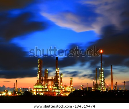 Petrochemical plant oil refinery at twilight, Thailand