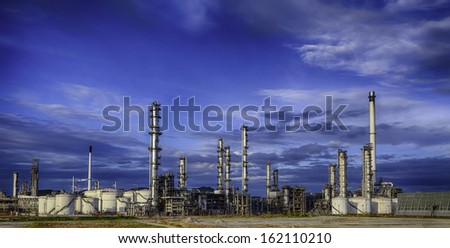 Petrochemical plant ( oil refinery ) industry with blue sky