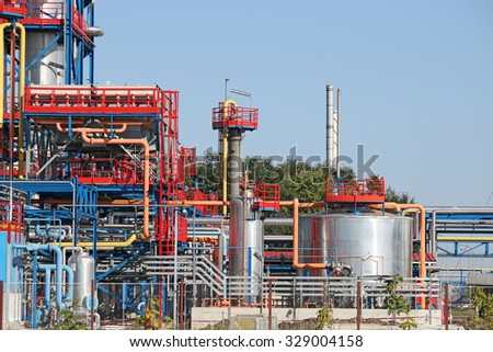 petrochemical plant pipelines oil industry - stock photo
