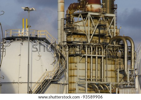 Petrochemical-tanks and a large oil-refinery-plant