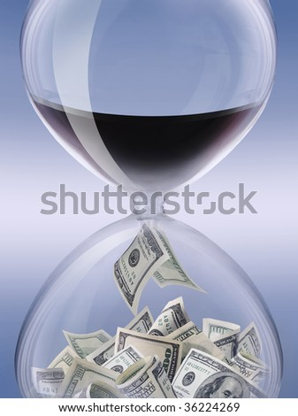 petrocurrency. Sand-glass symbolising a petroleum industry - stock photo