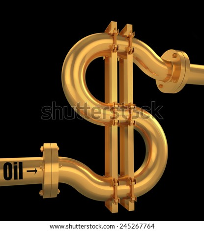 Petrodollar. Business concept. Black gold. Mineral mining as it is. Isolated on white background. - stock photo
