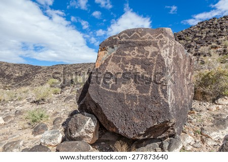 Petroglyphs and prehistoric carvings at Boca Negra Petroglyph National Monument, Albuquerque, New Mexico - stock photo