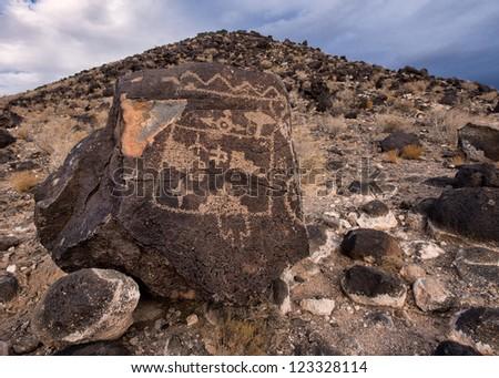 Petroglyphs at Boca Negra at Petroglyph National Monument in Albuquerque, New Mexico - stock photo