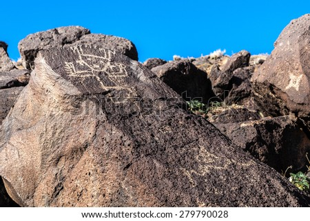 Petroglyphs at Boca Negra Canyon, Albuquerque, New Mexico - stock photo