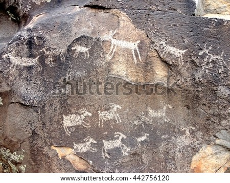 Petroglyphs on a boulder - stock photo