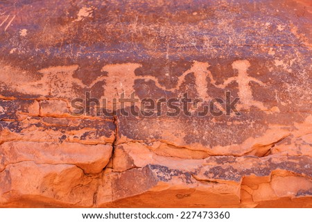 Petroglyphs, Valley of Fire State Park, Valley of Fire State Park, Nevada, USA - stock photo