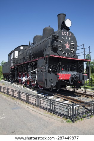 PETROKREPOST, RUSSIA - JUNE 08, 2015: Locomotive-monument erected at the station Petrokrepost in honor of railroad workers who worked during the siege of Leningrad