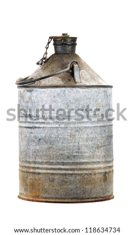 Petrol can. Old Danish can, made of galvanized  iron plate, used about 1900 - 1990 - stock photo