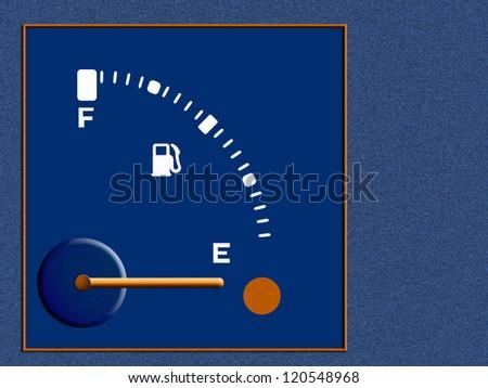 Petrol, fuel, gasoline guage - empty,background or metaphor shortage - stock photo
