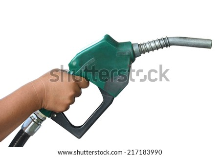 Petrol gas station pump and pumping gasoline fuel clipping path   - stock photo