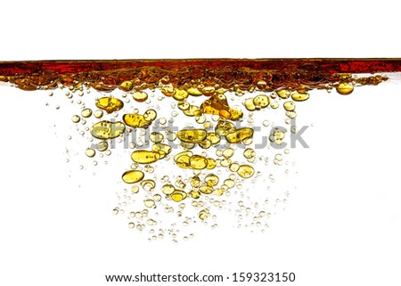 petrol in water isolated on white - stock photo