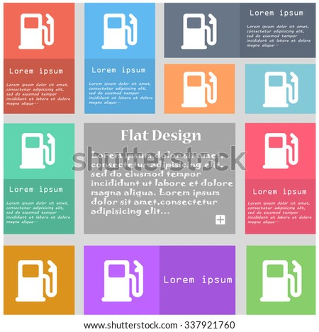 Petrol or Gas station, Car fuel icon sign. Set of multicolored buttons with space for text. illustration - stock photo