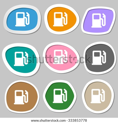 Petrol or Gas station, Car fuel icon symbols. Multicolored paper stickers. illustration - stock photo