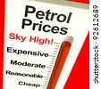 Petrol Prices Sky High Monitor Showing Soaring Fuel Expense - stock photo