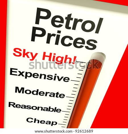 Petrol Prices Sky High Monitor Showing Soaring Fuel Expense