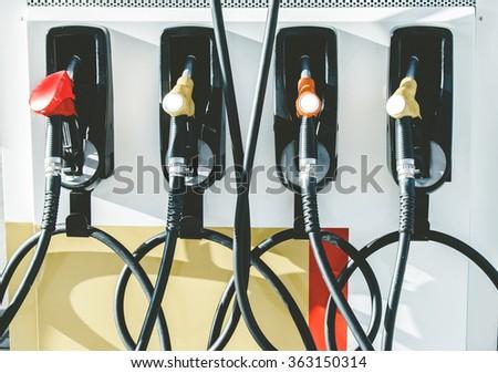 petrol pump in a petrol station. - stock photo
