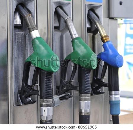 Petrol pumps diesel and unleaded petrol - stock photo