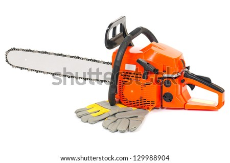 Petrole-powered chain saw with protective gloves isolated on white background cut-out - stock photo