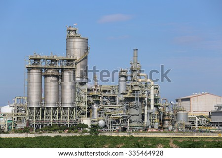 Petroleum and chemical plant in winter season with blue sky