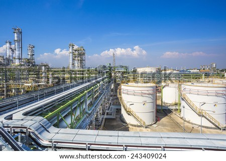 Petroleum plant with blue sky - stock photo