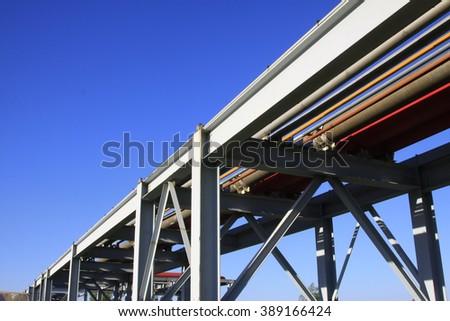 petroleum transportation pipeline, closeup of photo - stock photo