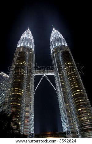 Petronas twin towers in Kuala Lumpur Malaysia - stock photo
