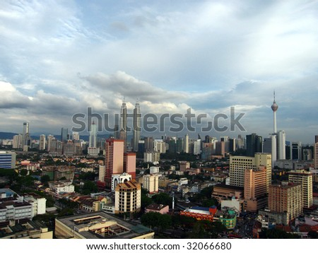 Petronas Twin Towers in malaysia with its city view - stock photo