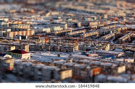 Petropavlovsk-Kamchatsky cityscape. Far East, Russia. Image with an tilt-shift effect - stock photo