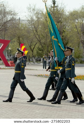 "PETROPAVLOVSK MAY 7: Public holiday ""Day of the Armed Forces of Kazakhstan"" May 7, 2015, Kazakhstan,  soldiers and military."