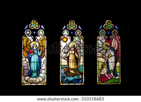 PETROPOLIS, RIO DE JANEIRO / BRAZIL - August 20, 2015: stained glass - interior of São Pedro de Alcântara Cathedral - portraying Faith, Hope and Charity - precepts - Christianity - Imperial City
