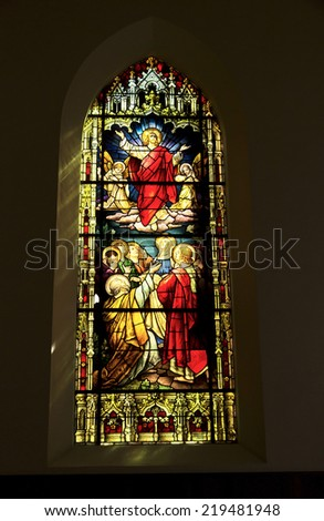 PETROPOLIS, RIO DE JANEIRO / BRAZIL - August 22, 2014: Stained Glass Parish Catholic Church of the Sacred Heart of Jesus - Inaugurated in 1874 - stock photo