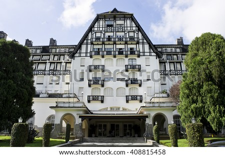 PETROPOLIS, RIO DE JANEIRO / BRAZIL  - March 20, 2016: Facade Part Palacio Quitandinha - historical and cultural heritage of the Imperial City - deactivated Casino - open to visitors