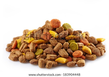 Pets food on a white background - stock photo