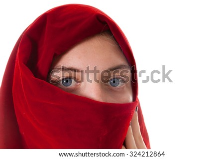 petty young girl wearing a headscarf around face, isolated on white - stock photo