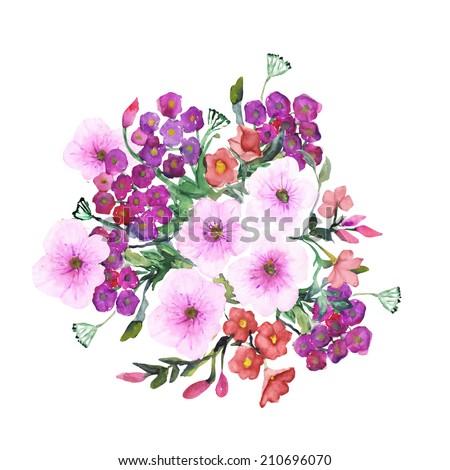 petunia flowers seamless pattern  - stock photo