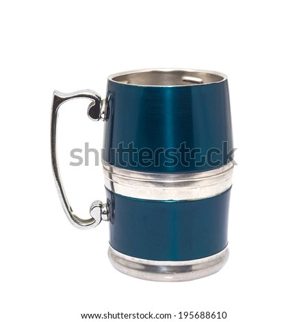 pewter beer mug decorated - stock photo