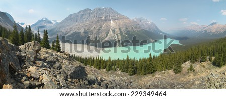 Peyto glacier lake in Rocky Mountains. Panoramic view. Canada - stock photo