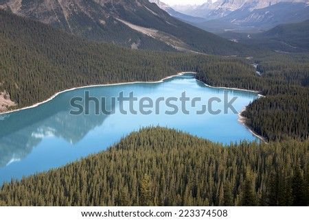 Peyto Lake, Banff National Park, Alberta, Canada Approximately 30 Miles North of Lake Louise  - stock photo