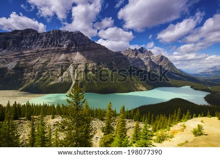 Peyto Lake & Caldron Peak, Banff National Park, Alberta, Canada  - stock photo