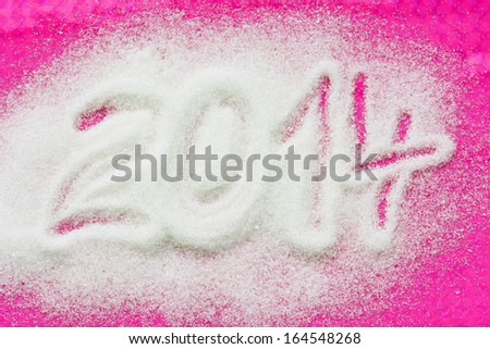 PF 2014 made from the sugar. Happy New Year 2014. - stock photo