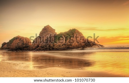 Pfeiffer Beach in Big Sur a romantic gateway for couples - stock photo