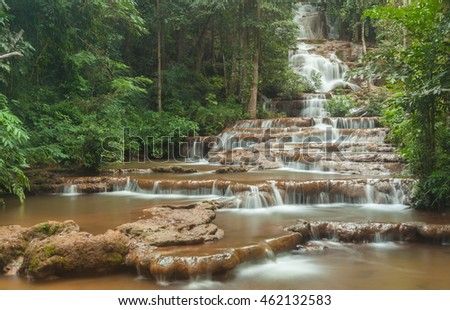 Pha Chareon Waterfall, Beautiful waterfall in forest, Tak province, Thailand.