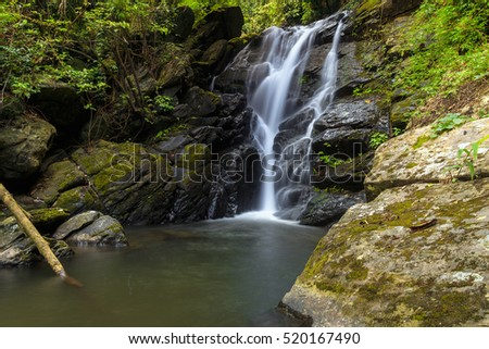 Pha Tan Waterfall in Rain Forest at Tham Sakoen National Park in Nan ,Thailand